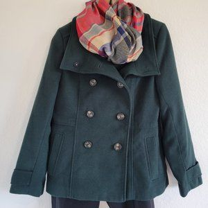 H&M Double Breasted Green Peacoat